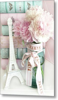 Parisian Cottage Pink Peonies With Eiffel Tower And Books - Shabby Cottage Peony Eiffel Tower Art Metal Print by Kathy Fornal