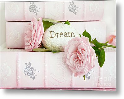 Shabby Chic Cottage Pink Roses On Pink Books - Romantic Inspirational Dream Roses  Metal Print by Kathy Fornal