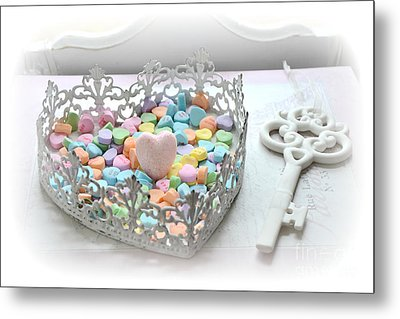 Shabby Chic Romantic Candy Hearts With White Key - Romantic Valentine Candy Hearts  Metal Print by Kathy Fornal