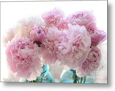 Shabby Chic Romantic Pink Peonies In Aqua Mason Jars - Shabby Cottage Aqua Pink Paris Peonies Metal Print by Kathy Fornal