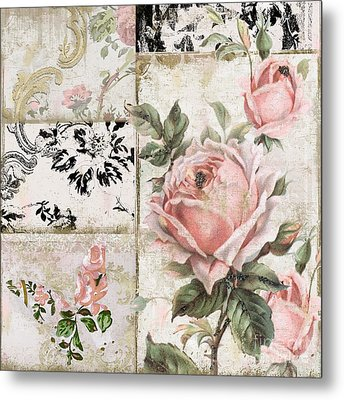 Shabby Pink Tea Roses Metal Print by Mindy Sommers