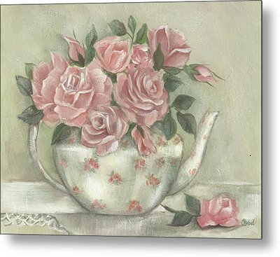 Shabby Teapot Rose Painting Metal Print