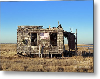 Shack With American Flag Metal Print by John Greim