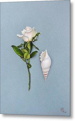 Shades Of White Metal Print by Elena Kolotusha