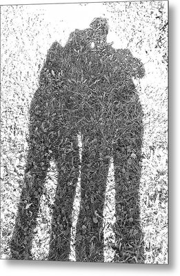 Metal Print featuring the photograph Shadow In The Meadow Bw by Wilhelm Hufnagl