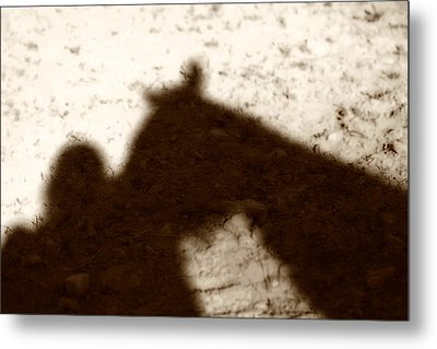 Shadow Of Horse And Girl Metal Print by Angela Rath