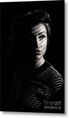 Shadow Over Womans Face Metal Print