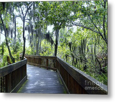 Shady Boardwalk Metal Print