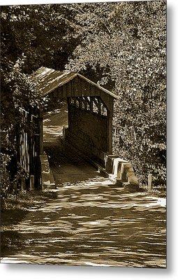 Shady Covered Bridge In Chocolates Metal Print