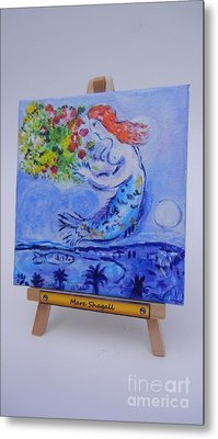 Metal Print featuring the painting Chagall's Mermaid by Diana Bursztein