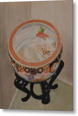 Shakespeare In A Chinese Fishbowl Metal Print by Quwatha Valentine