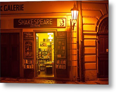 Shakespeares' Bookstore-prague Metal Print