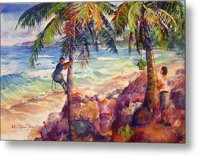 Shaking Down Coconuts Metal Print by Estela Robles