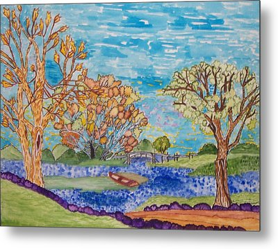 Metal Print featuring the painting Shall We Go For A Summer Walk by Connie Valasco