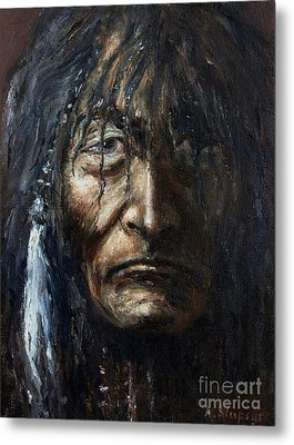 Metal Print featuring the painting Shaman by Arturas Slapsys