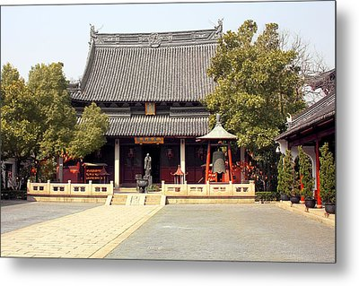 Shanghai Confucius Temple - Wen Miao - Main Temple Building Metal Print by Christine Till