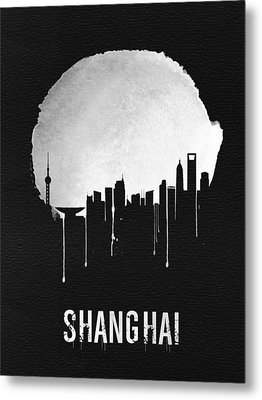 Shanghai Skyline Black Metal Print by Naxart Studio