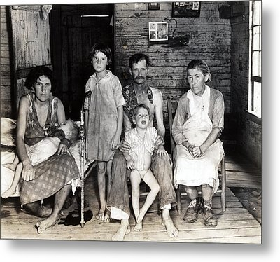 Sharecropper Bud Fields And His Family Metal Print by Everett