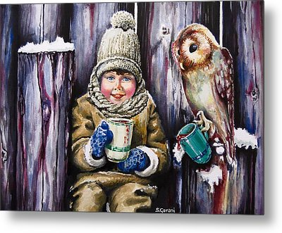 Sharing A Hot Chocolate Metal Print