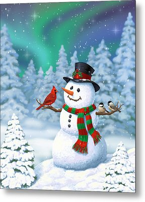 Sharing The Wonder - Christmas Snowman And Birds Metal Print by Crista Forest