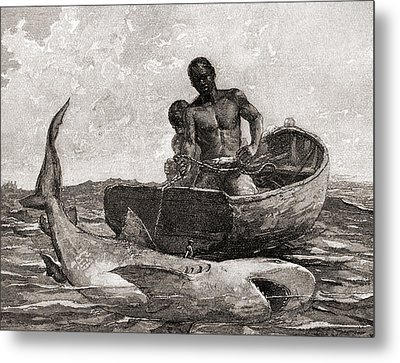 Shark Fishing, Nassau Bar Metal Print