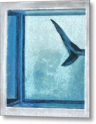 Shark In Magic Cubes  -  1  Of  3 - Da Metal Print by Leonardo Digenio