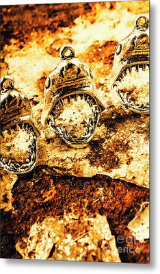 Shark Pendants On Rusty Marine Background Metal Print