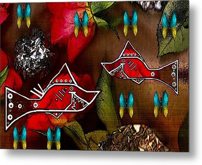 Sharks In The Magical Garden Of Peace Metal Print
