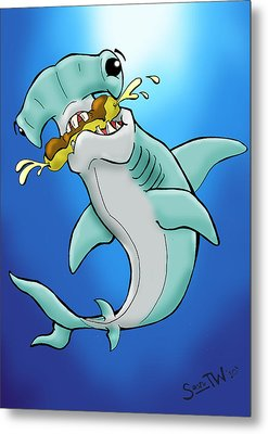 Sharks That Eat Cake Hammerhead Metal Print