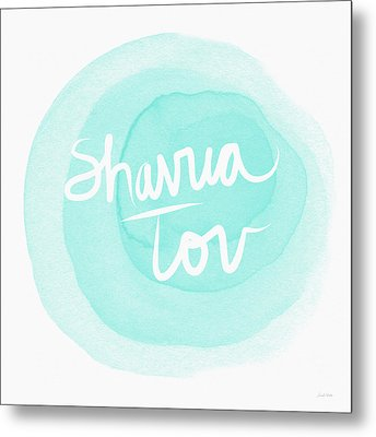 Shavua Tov Blue And White- Art By Linda Woods Metal Print