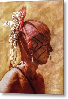 Shawnee Indian Warrior Portrait Metal Print