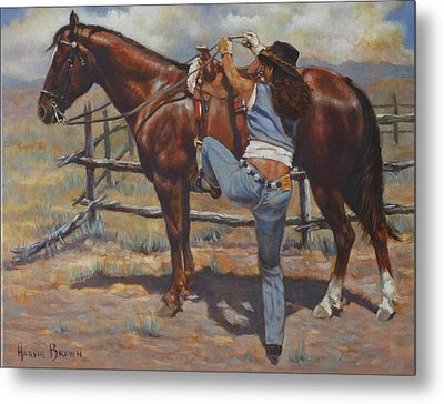 Shawtie-butt And Cowboy Metal Print by Harvie Brown