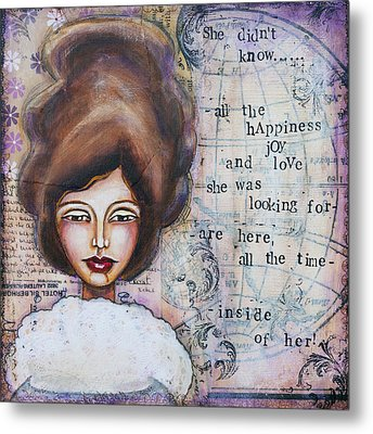 She Didn't Know - Inspirational Spiritual Mixed Media Art Metal Print