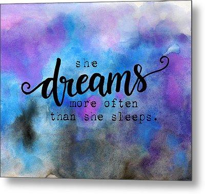 She Dreams Pillow Metal Print by Michelle Eshleman