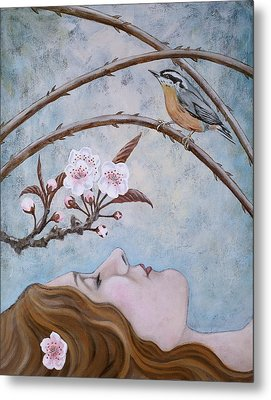 She Dreams The Spring Metal Print