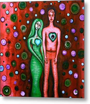 She Grieves The Hole In His Heart-red Metal Print by Brenda Higginson