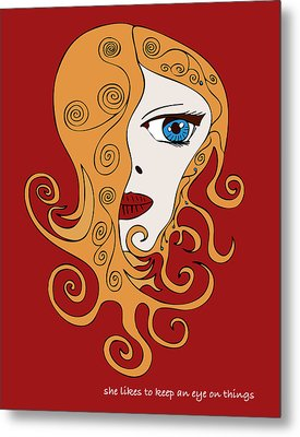 Metal Print featuring the drawing She Likes To Keep An Eye On Things by Frank Tschakert