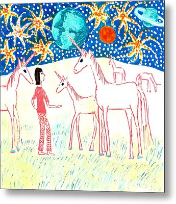 She Meets The Moon Unicorns Metal Print by Sushila Burgess