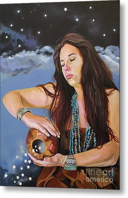 She Paints With Stars Metal Print by J W Baker