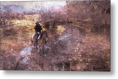 She Rides A Mustang-wrangler In The Rain II Metal Print by Anastasia Savage Ealy