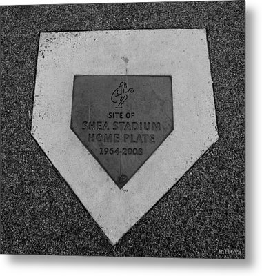Shea Stadium Home Plate In Black And White Metal Print by Rob Hans