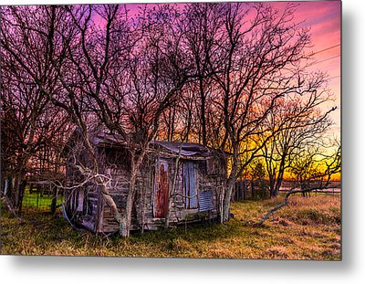 Shed And Sunset Metal Print