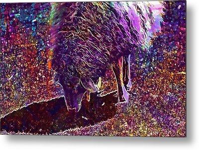 Metal Print featuring the digital art Sheep Animal Animals Wool Meadow  by PixBreak Art