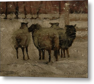 Sheep In The Snow Metal Print by John Reynolds