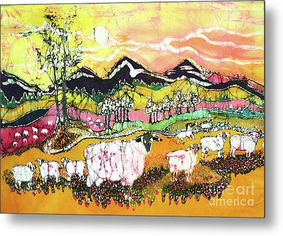 Sheep On Sunny Summer Day Metal Print by Carol Law Conklin