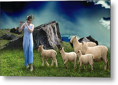 Metal Print featuring the mixed media Sheep Whisperer by Marvin Blaine