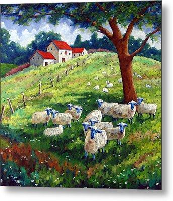 Sheeps In A Field Metal Print