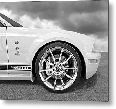Shelby Gt500 Wheel Black And White Metal Print