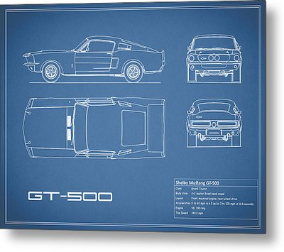 Shelby Mustang Gt500 Blueprint Metal Print by Mark Rogan