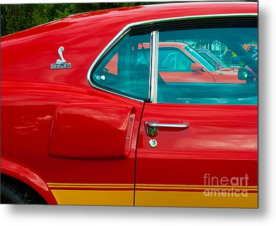 Red Shelby Mustang Side View Metal Print